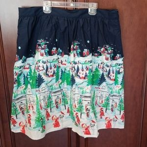 Winter Wonderland Skirt w/Pockets Navy Cotton READ